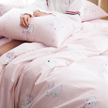 Sweet pink duvet cover set cartoon bed linen family rabbit print quilt cover soft bed sheet 100% cotton pillow covers multi-size
