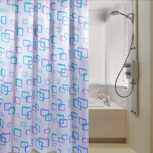 1Pc Waterproof Polyester Fabric Random Pattern & Hooks Bathroom Shower Curtain H06