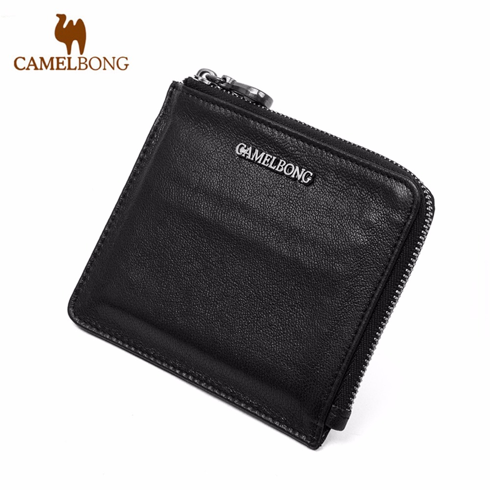 FINKRS New Arrival Men Wallets 100% Cow Leather Zipper Around Wallet Card Holder Dark Brown Free shipping<br><br>Aliexpress