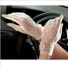 2018 Spring and Summer Women Vintage Sunscreen Sexy Lace Gloves Lady anti-uv Gloves Female driving outdoor Gloves 5 Color(China)