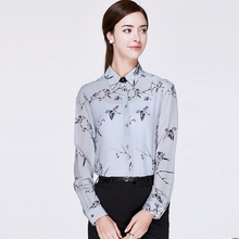 100% Silk Blouse Women Lightweight Printed Fabric Simple Design Long Sleeves Office Work Shirt Elegant Style New Fashion 2017