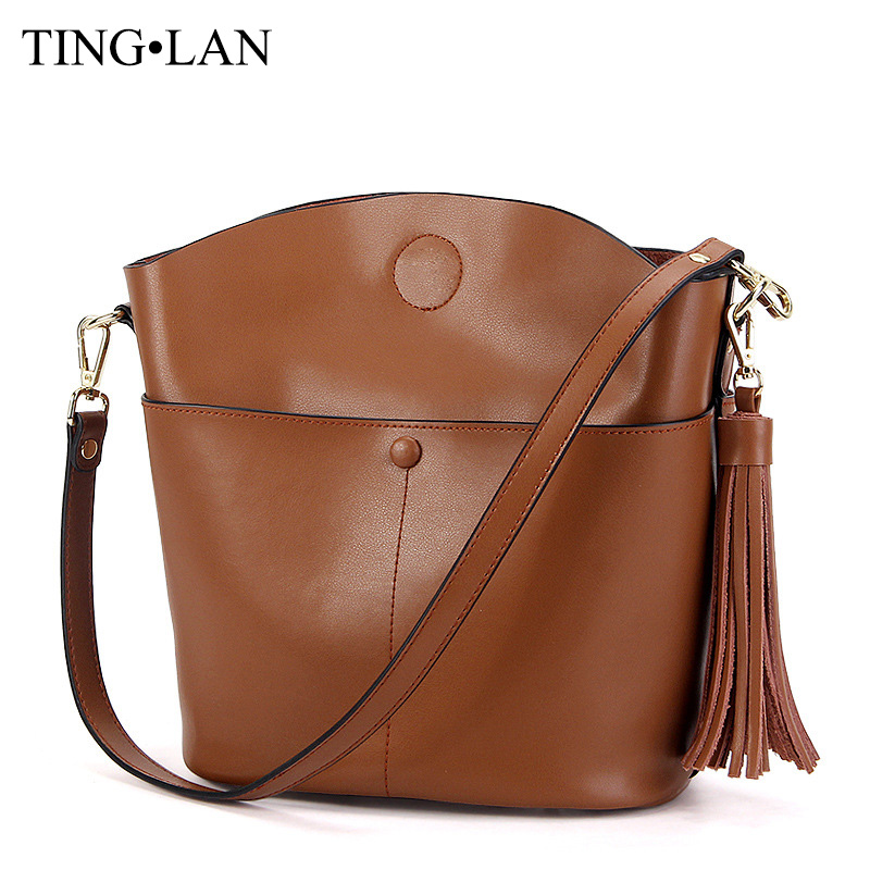 Designer Cowhide Women Messenger Bags Genuine Leather Shoulder Crossbody Bags For Women Fashion Small Tassel Bags Famous Brand<br>