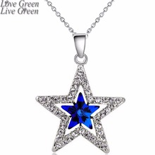 2017 fashion design women girl couple gifts 18KGP Austrian Crystal moon star sky pendant necklace fashion jewelry 80029(China)