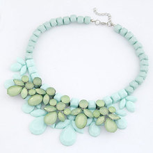 2017 Fashion Luxury Resin Imitated Gemstone Jewelry Water Drop Flower Collar Choker Necklaces Pendants Statement Necklace Women