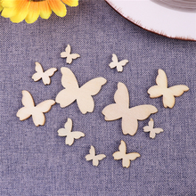 50pcs Mixed Size Wooden Butterflies Cutout MDF Wooden Craft embellishments scrapbooking Wood Art Wedding Decoration(China)