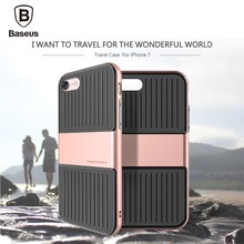 New arrival Baseus Travel Case TPU + PC Double Protection Skin For iphone 7 For iphone7 Plus Cover Phone Cases 4.7 inch 5.5 inch