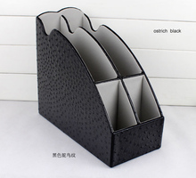 4-slot wood leather desktop office file document stationery tray rack file stand organizer pen holder box 266A