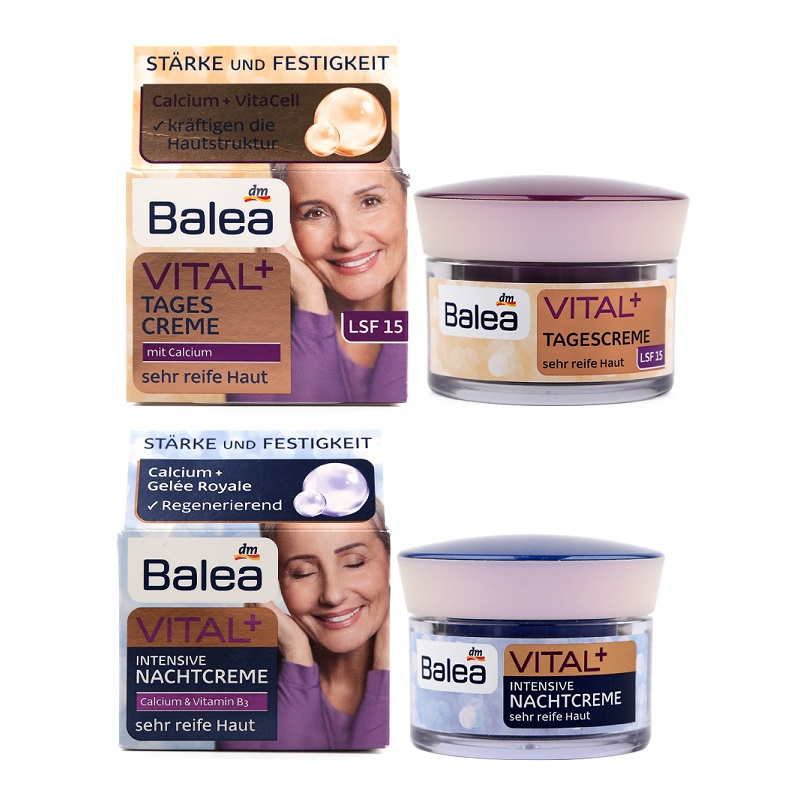 Balea VITAL+Day Cream+Night Cream for Old Mature Skin Ages 55+ to 70+ Anti aging Anti wrinkle Enhance skin elasticity Firming<br>