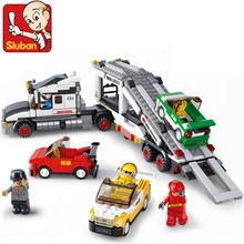 SLUBAN 2017 NEW 0339 Auto Transport Truck Carrier Vehicle Set Building Brick Block Educational minis Childen Toy Free Shipping