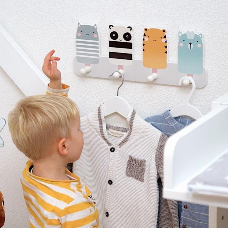 Set of 2 Wooden Panda Wall Door Hooks Baby Bedroom Nursery Decoration