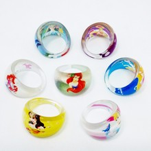 Wholesale 50PC Lovely Cartoon Barbie Princess Girl Ring Beautiful kids Cinderella Rings Jewelry & Accessories(China)