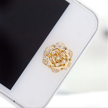 3D Silver Diamond Crystal Home Button Sticker For iPhone 4/5/5s/6 Apple Ipad Rose Flower Shape