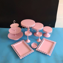9 pieces/ lot pink cake stand wedding cupcake stand set crystal candy bar decoration cake tools bakeware(China)