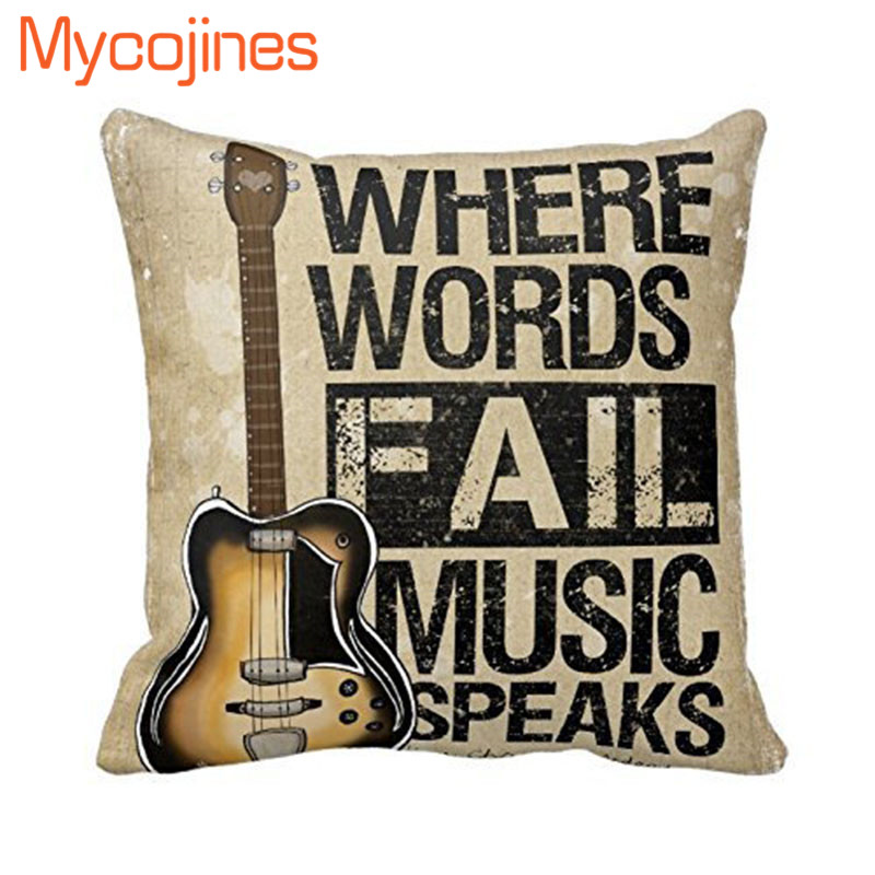 """English Word Print Cotton Linen Cushion Cover Pillow Case 18/"""" Home Sofa Decor"""