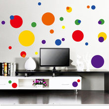 Home Decor DIY Removable Colorful Polka Dots Circle Bubble Wall Sticker Home Art Mural Kids Room Stickers 2016