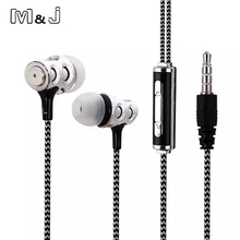 M&J In Ear Skull Earphone Bass Studio Monitor Stereo Headset Music Super Deep Earbud With Microphone For PC iPhone Samsung(China)