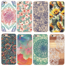 Shell For Apple iPhone X 5 5S SE 5C 6 6S 7 8 Plus 6SPlus Back Case Cover Printing Mandala Flower Datura Floral Cell Phone Cases(China)