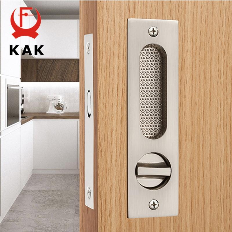KAK Mute Mortice Sliding Door Lock Hidde Handle Interior Door Pull Lock Modern Anti-theft Room Wood Door Lock Furniture Hardware<br>