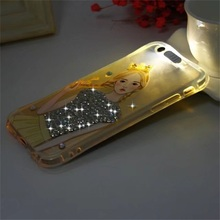 "LED flash lighting Case for iphone 6 6s mickey cell phone cover For Iphone 6 6s 7 4.7"" 6plus 6s plus 7plus 5.5"" diamond case(China)"