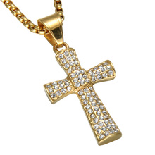 HIP Hop Cross Crystal Necklace For Men Bling Gold Color Stainless Steel Cross Pendant & Necklaces Christian Jewelry