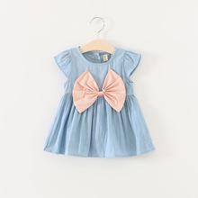 2017 Cute Baby Girl Dress Jeans Children Kids Baby Denim Dresses One Piece Baby Summer Clothing For Casual Wear Clothes Girl