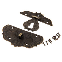 1Pc 76x57mm Antique Brass Jewelry Chest Box Gift Box Suitcase Case Buckles Toggle Hasp Latch Catch Clasp Vintage Hardware(China)