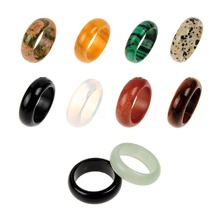 seven chakra Assorted 8*22mm Malachite  Opal Crystal Quartz Natural Stone Ring Women Men For Jewelry Making Random Mixed Color