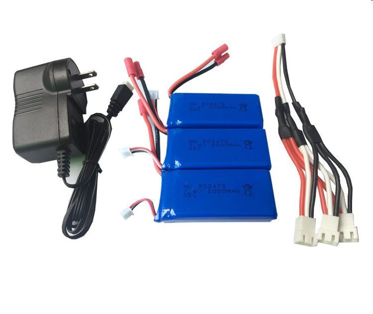 Ewellsold 7.4V 2000mAh Li-polymer*3pcs+ wall charger for X8C X8W X8G 8HW X8HC X8HG 899 RC Quadcopter<br>