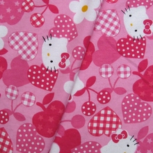S008 -  Cotton Flannel Fabric -  Hello kitty - Heart/Apple/Cherry (width=108cm)