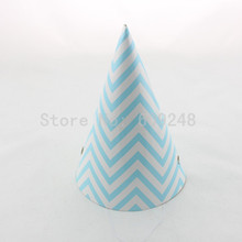 12pcs Cheap Custom Baby Shower Carnival Wedding Birthday Light Blue Chevron Paper Party Hats,Zig Zag Party Caps Decorations(China)