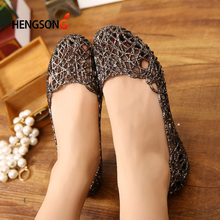 Women's Sandals 2017 Fashion Lady Girl Sandals Summer Women Casual Jelly Shoes Sandals Hollow Out Mesh Flats 23-25cm PA864521(China)