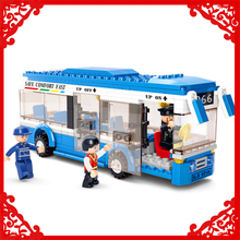 SLUBAN 0330 235Pcs Traffic Series City Bus Car Model Building Block Construction Figure Toys Gift For Children Compatible Legoe(China)