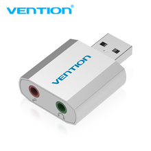 Vention Mini USB Sound Card Audio Card USB To 3.5mm Femal External sound card With Mic headset Adapter For Speaker Laptop PC PS4(China)