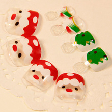 Clear False Toenails Nail Tips for Toes Cute Santa Claus White Christmas Santa Claus Green Tree Style Z508