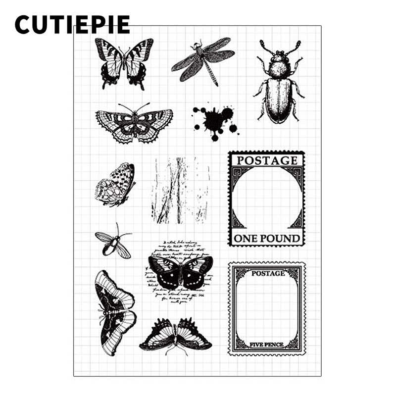 Butterfly Postage Transparent Rubber Stamps Silicone Seals for Scrapbooking DIY Photo Album Embossing Folder Paper Decoration
