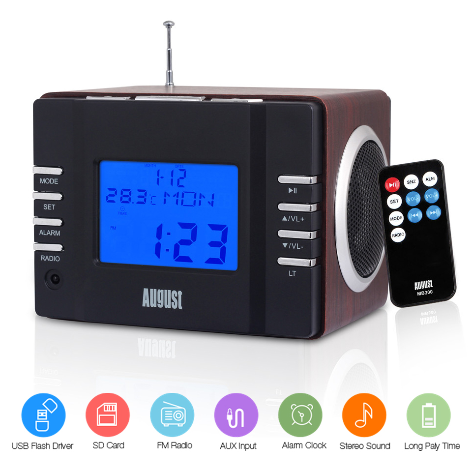 August MB300 Wood FM Radio with MP3 Stereo System