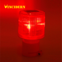 50pcs/lot Solar Powered Traffic Light LED Solar Safety Signal Beacon Alarm Lamp Solar Emergency LED Strobe Warning Light