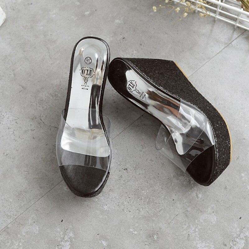 Sandalia Feminina summer transparent platform wedges sandals women slippers high heels glitter pvc strap slides mules pumps pink<br><br>Aliexpress