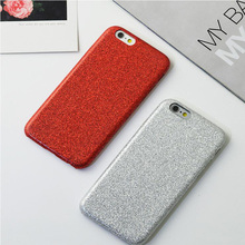 China Red Hard PC Cases for iphone 6 6s Plus 7 7Plus Phone Case Bling Glitter Powder Matte Flash Back Shell Ultra Thin Cover(China)