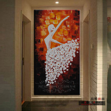 Modern entrance decorative painting fashion box art wall painting abstract figure dancing handpainted painting