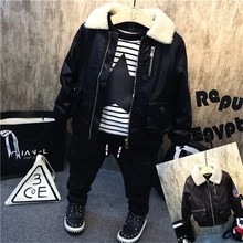 Boy Plush Collar Leather Clothing Thick Striped T Shirt Black Jeans Long Pants 3pcs set With Velvet Children New Winter Wear