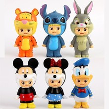 6pcs/lot Sonny Angel Cosplay Duck Tiger Lilo Stitch Pluto Goofy PVC Action Figures Collectible Model Toys Dolls