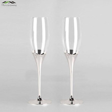 Fashion Shiny Silver plated champagne glass flutes with bow red wine glasses for wedding/party brandy goblet cup taza de vidrio