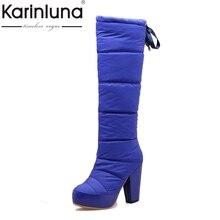 KARINLUNA 2017 Fashion Snow Boots Winter Add Fur Knee High Boots Waterproof High Heels Platform Women Shoes Woman