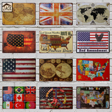 Map USA Flag Plate Man Cave 20x30cm Retro Poster Metal Tin Signs Vintage Plaque Paintings Advertising Shop Bar Garage Wall Decor