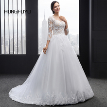 New Arrival A Line Scoop Neck Tulle Long Wedding Dresses 2018 Appliques Beading Button Long Sleeves Wedding Gowns HFY101701(China)