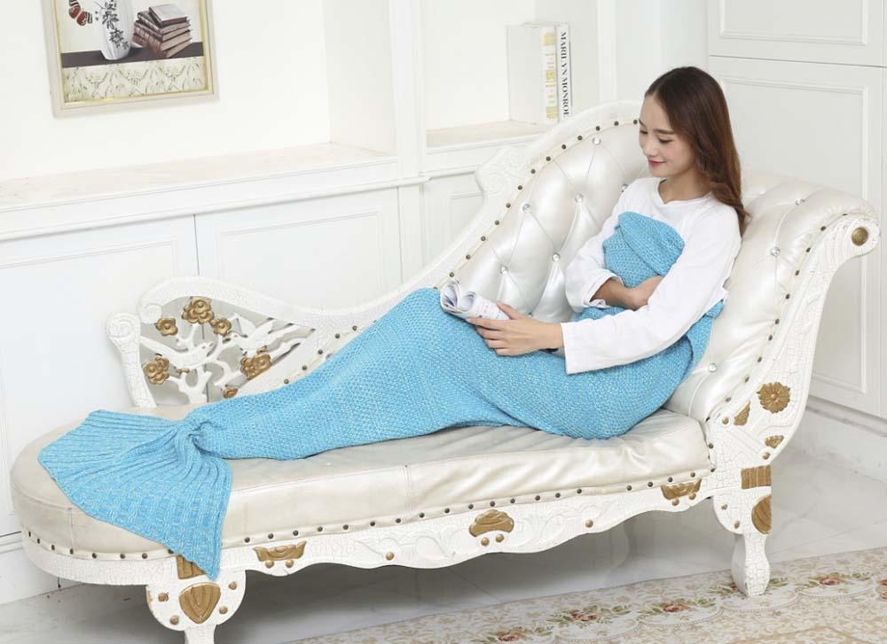 Outdoor Traveling Fish Tail Blanket Yarn Knied Handmade Crochet Soft Sleeping Tool