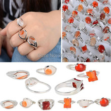 Wholesale 20Pcs/lot Natural Stone Silver Rings for Men Women Silver Plated Geometric Big Stone Wedding Finger Ring Jewelry Lot