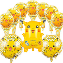 10pcs/lot globos pokemon Foil Balloons Inflatable toys Pikachu Helium Balloon kids toys happy Birthday balloons Party Supplies(China)