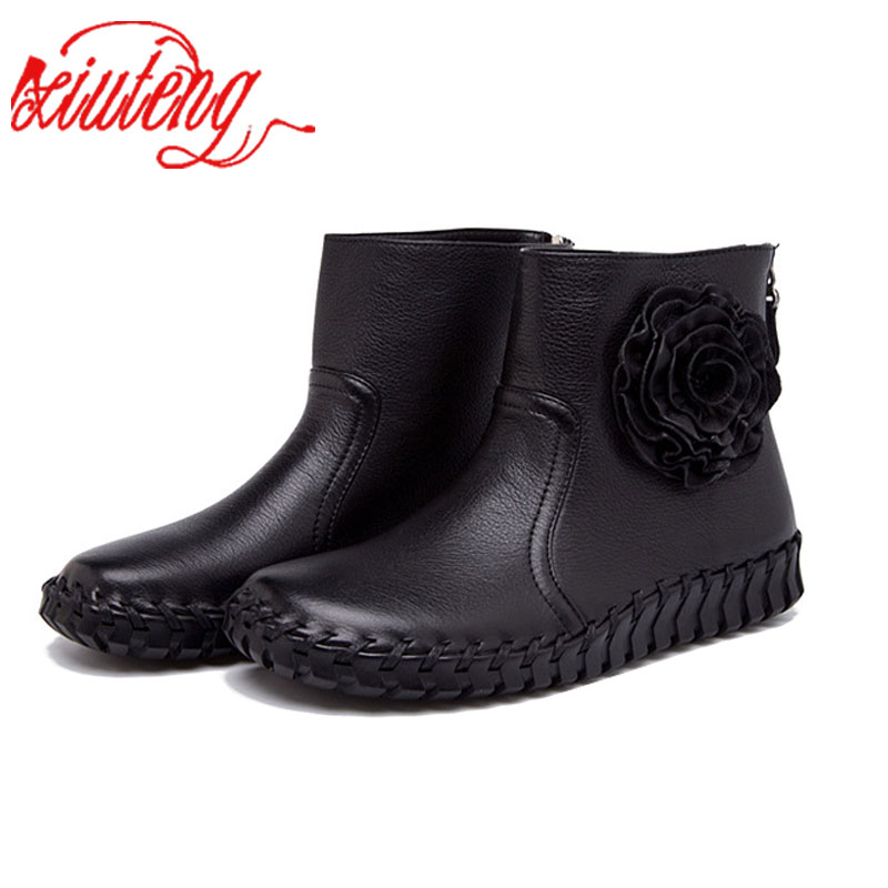 Xiuteng 2017 HOT SALE Shoes Women Retro Boots Handmade Ankle Genuine Boots Real Genuine Leather Shoes Women Flat with Shoes <br>